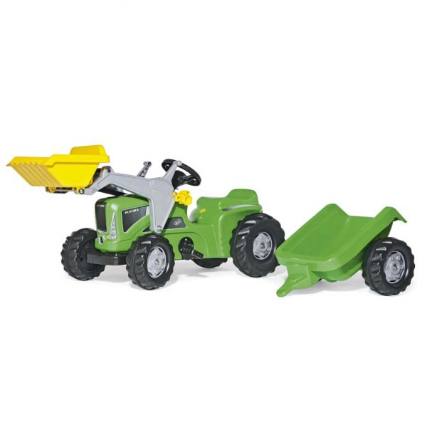 Traktor na pedale Rolly Toys Rolly Kid Futura sa prikolicom i utovarivačem zeleni 630035