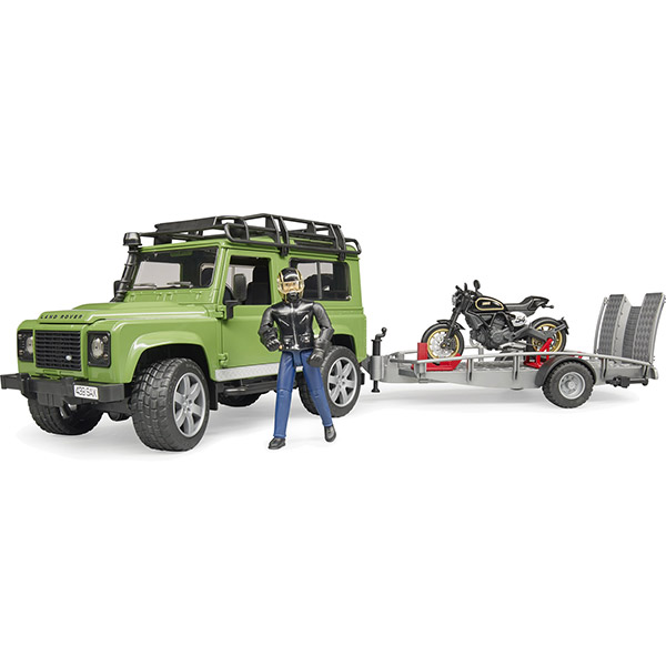 Dzip Land Rover sa prikolicem,motorom Ducati i vozačem