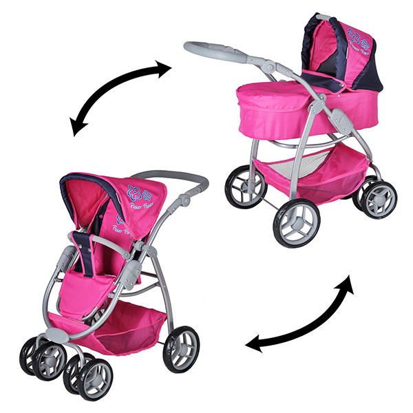 Kolica za lutke COCO flower power pink Knorr Toys-90766